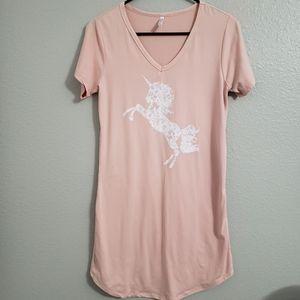 Gina Group blush pink unicorn nightgown M